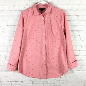 Lands End red anchor button up blouse size 12